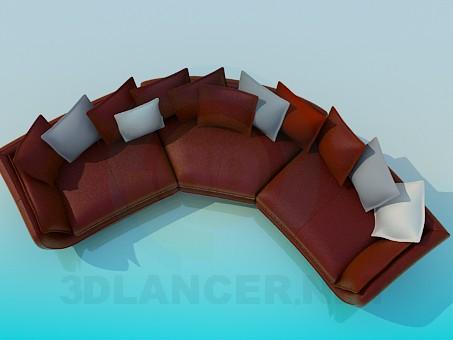 3d модель Полукруглый диван с подушками – превью