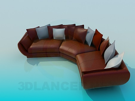 3d model Semicircular sofa with cushions - preview