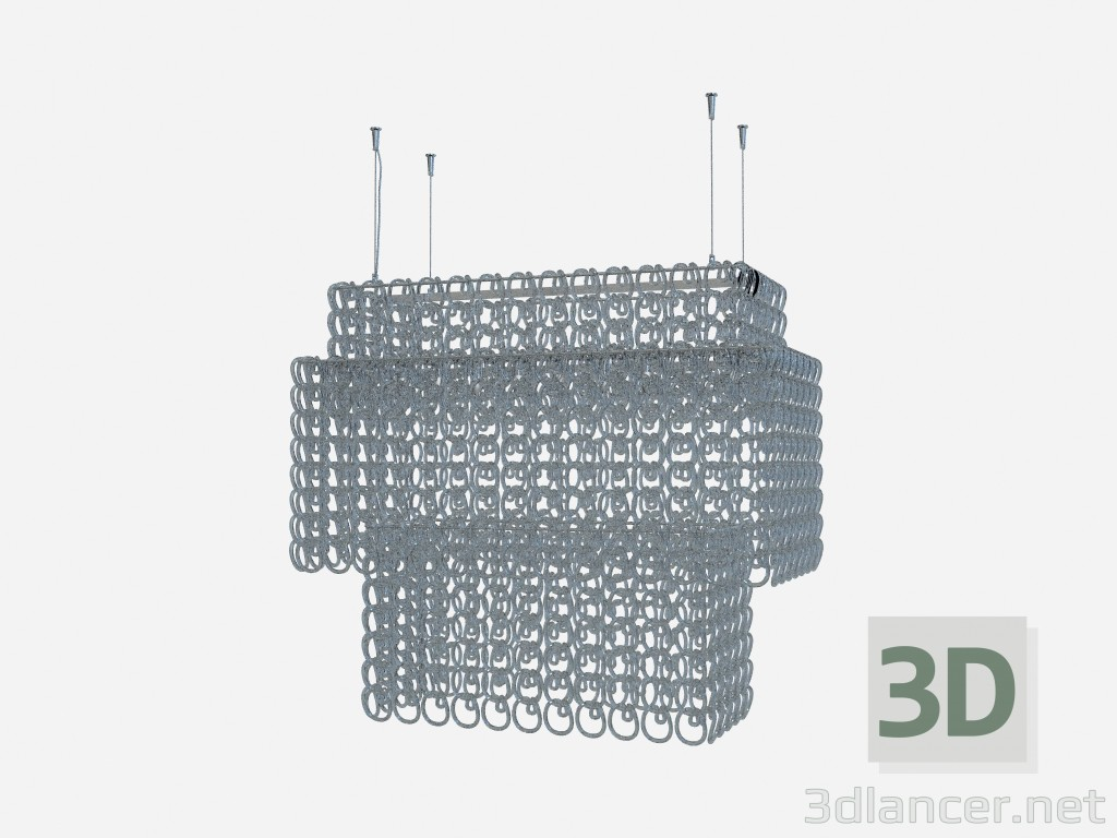 3d model Ceiling lamp Crystal chandelier recta - preview
