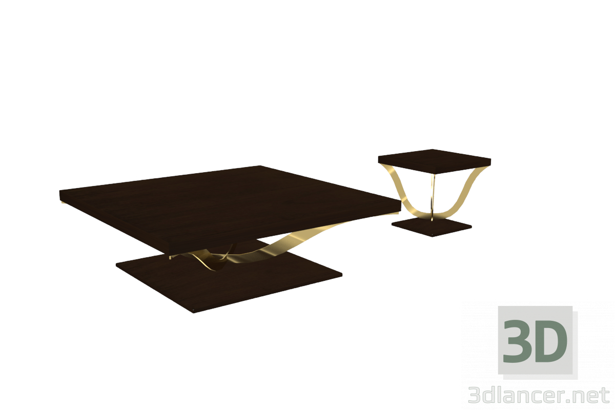 3d Coffee table and teseo model buy - render