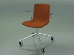 Chair 5914 (on casters, polypropylene, with front trim, with armrests)