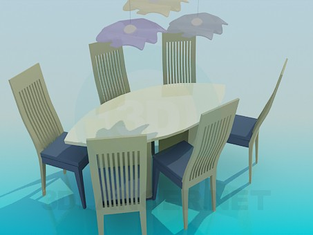 3d modeling Set of oval table and chairs model free download