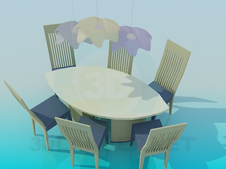 3d model Set of oval table and chairs - preview