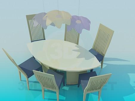 3d модель Набір овальний стіл і стільці – превью