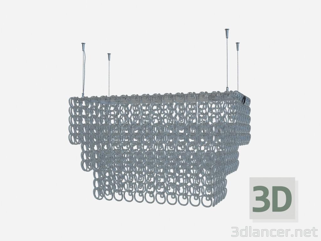 3d model Art Deco chandelier, Crystal chandelier recta - preview