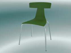 Sedia impilabile REMO sedia in plastica (1417-20, plastica felce verde, cromo)