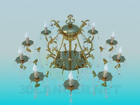 3d modeling Luxurious gilded chandelier with crystal drops model free download