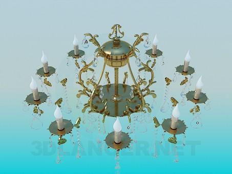 3d моделирование Роскошная позолоченная люстра с хрустальными каплями модель скачать бесплатно