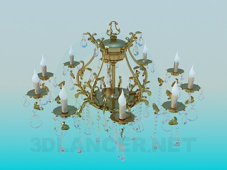 3d model Luxurious gilded chandelier with crystal drops - preview