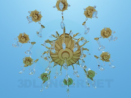modelo 3D Candelabro dorado lujoso con gotas de cristal - escuchar