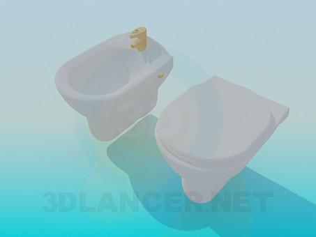 3d modeling Bidet and toilet model free download