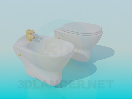 modelo 3D Bidé y WC - escuchar