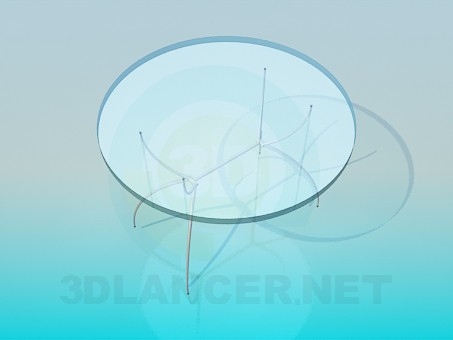 3d model Glass round table on thin legs - preview