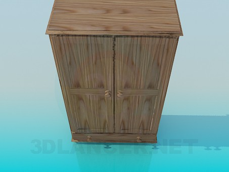 3d model Wooden wardrobe - preview
