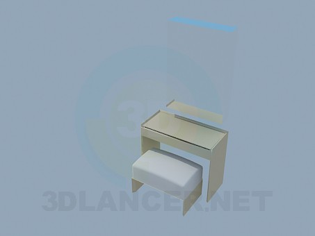 3d model Mirror, bedside-table and ottoman - preview