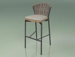 Bar stool 250 (Metal Smoke, Teak, Padded Belt Gray-Sand)