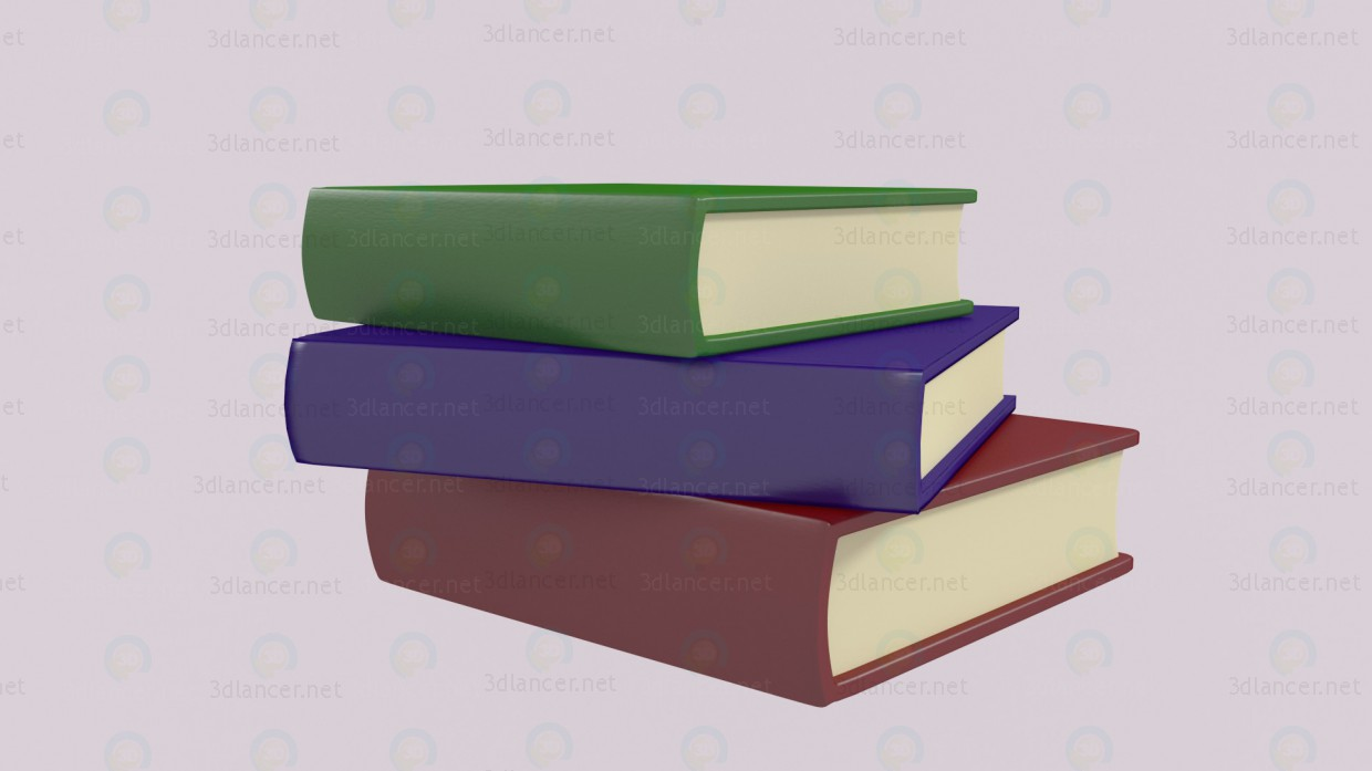 Stack of books paid 3d model by victar preview