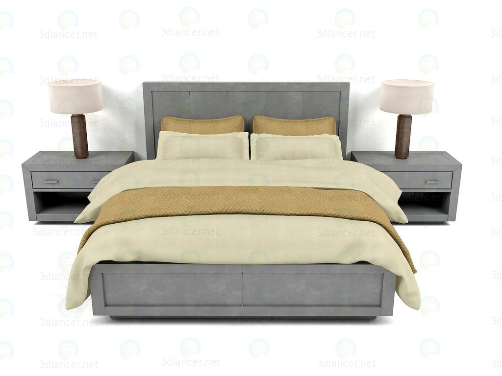 Bed La Salle Metal - Wrapped Collection RH paid 3d model by NewYear preview