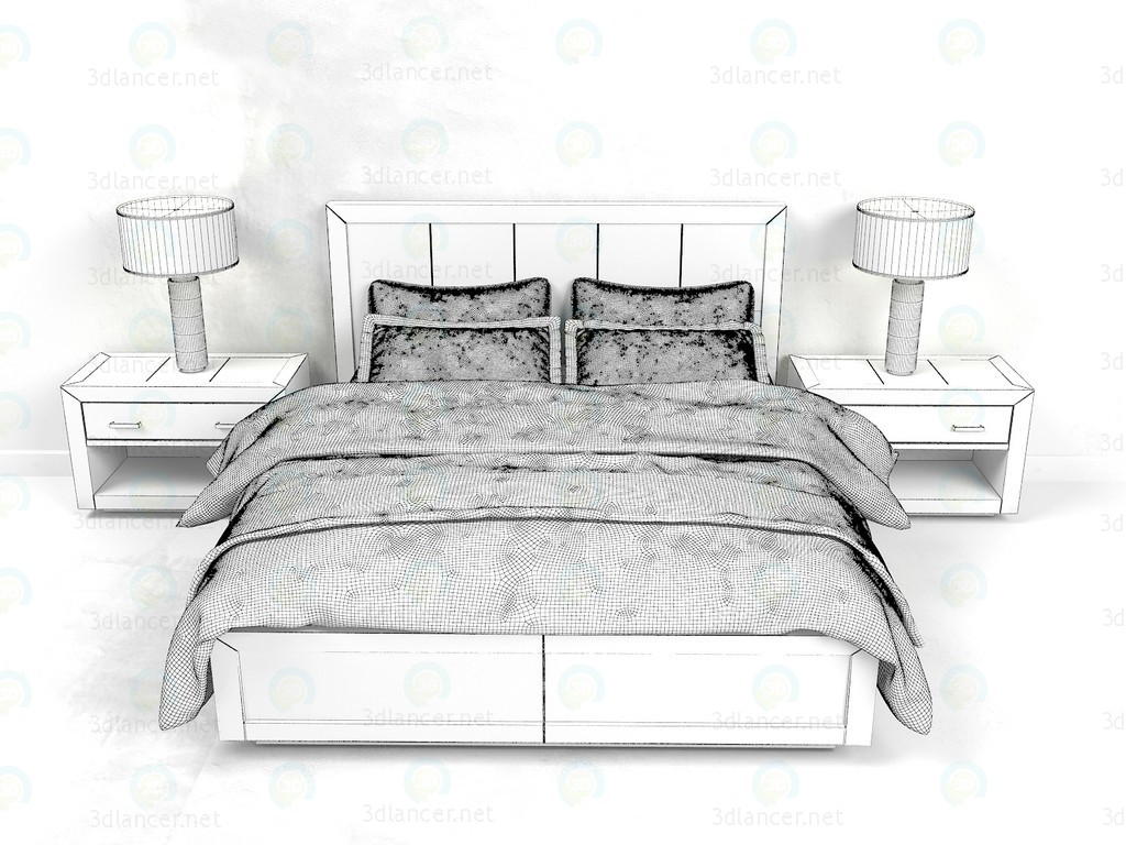 3d Bed La Salle Metal - Wrapped Collection RH model buy - render