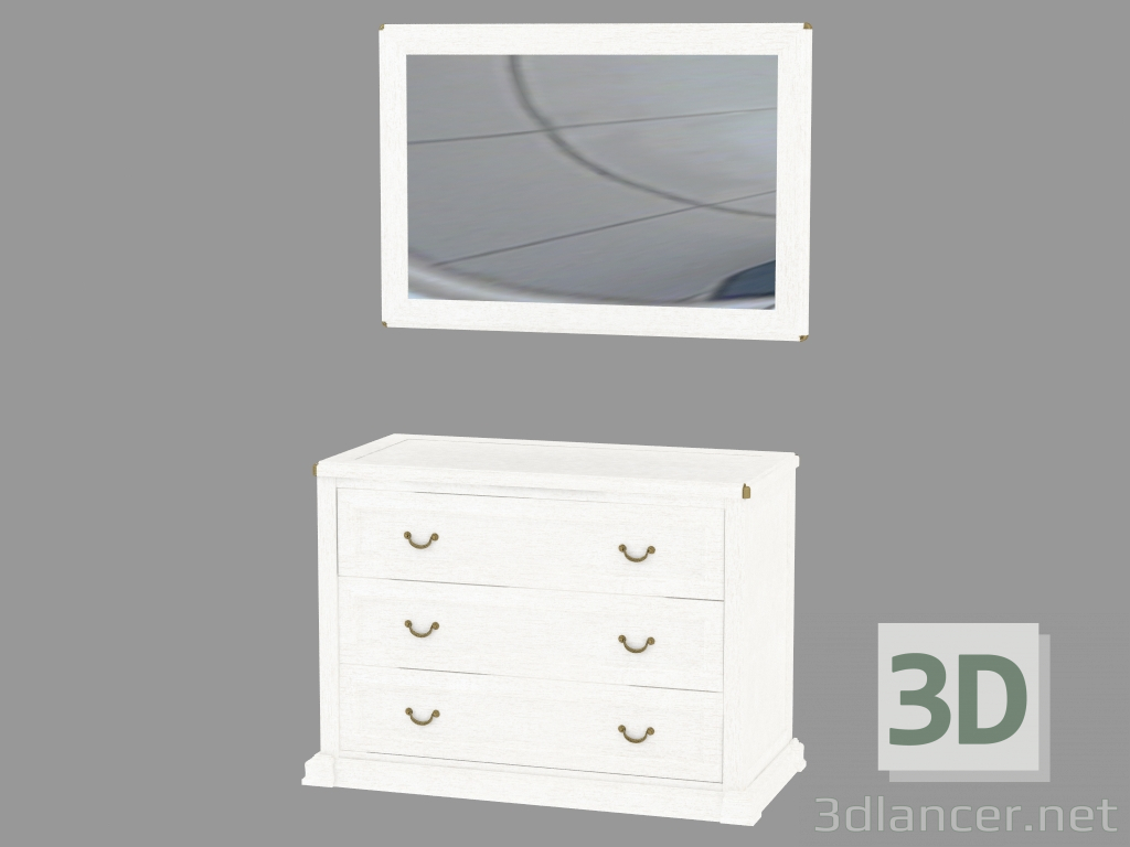 3d model Dresser with three drawers and a mirror - preview