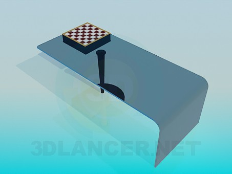 3d modeling Coffee table with built-in chess board model free download