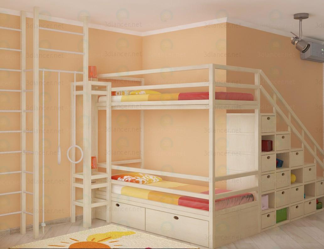 3d модель Кровать двухярусная – превью