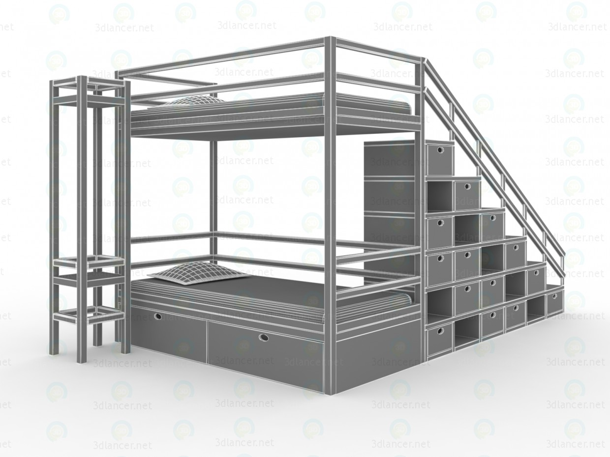 3d model bunk bed - preview