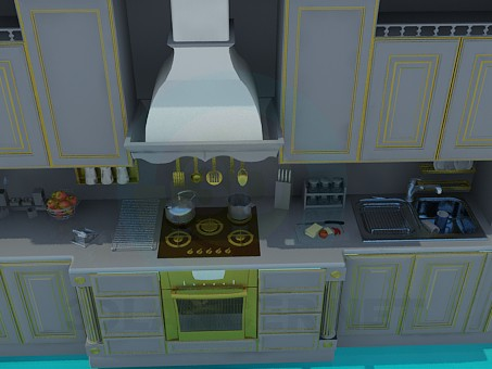 3d modeling Kitchen model free download