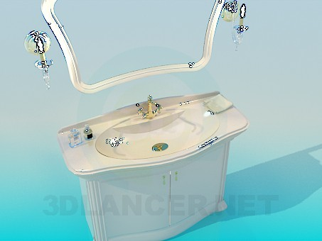 3d modeling Washbasin with mirror model free download
