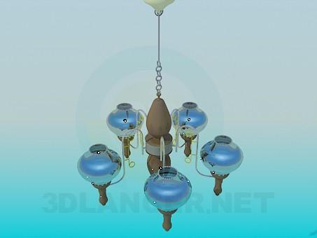 3D Modell Kronleuchter mit Glas Deckengemälde - Vorschau