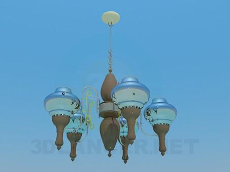 modelo 3D Lámpara Chandelier con pinturas del techo de cristal - escuchar