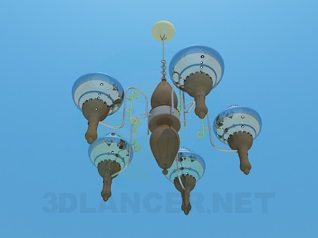3d model Chandelier with glass ceiling paintings - preview
