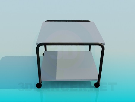 3d model Square table with wheels - preview
