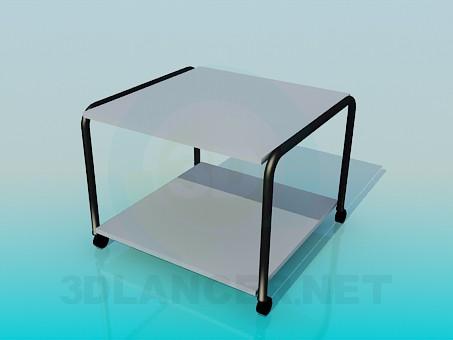 3d модель Квадратный столик на колесиках – превью