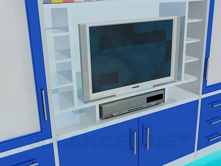 3d model Set with a place under the TV - preview