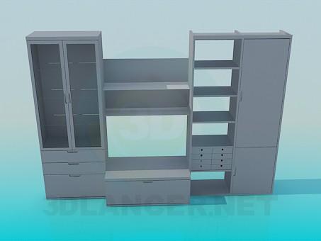 3d модель Шкафчик с полками – превью
