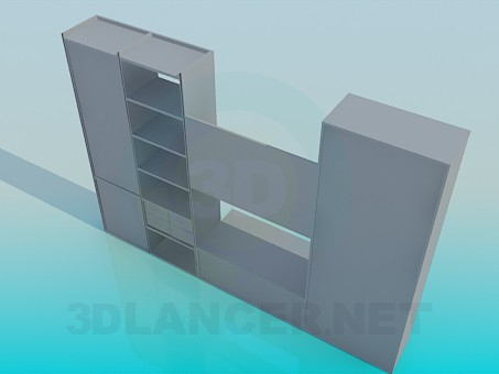 3d model Cupboard with shelves - preview