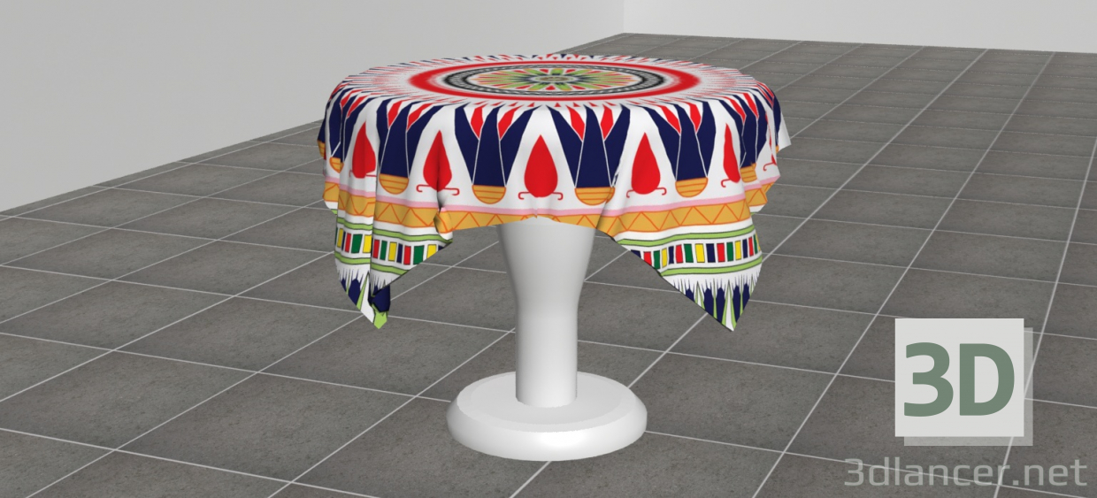 3d model ROUND DINING TABLE WITH TABLECLOTH - preview