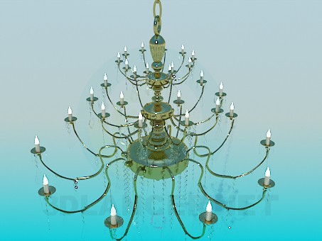 3d modeling Golden chandelier with candles model free download