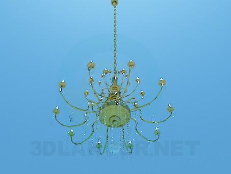 modelo 3D Lámpara chandelier de oro con velas - escuchar