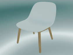 Chair with wooden base Fiber (White, Oak)
