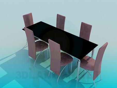 3d модель Обідній стіл і стільці – превью