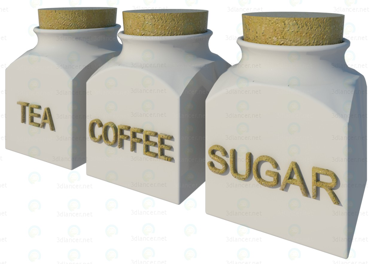3d model Coffee-Tea-Sugar Set - preview