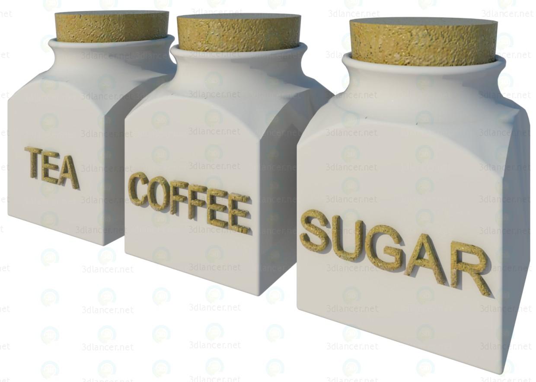 3d модель Кофе-чай-сахар Set – превью