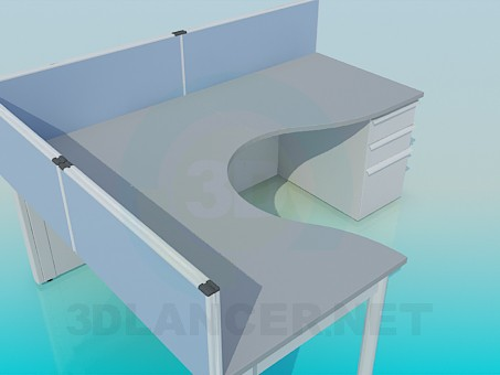 3d model Table with boards - preview