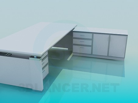 3d модель Письменный стол и тумба – превью