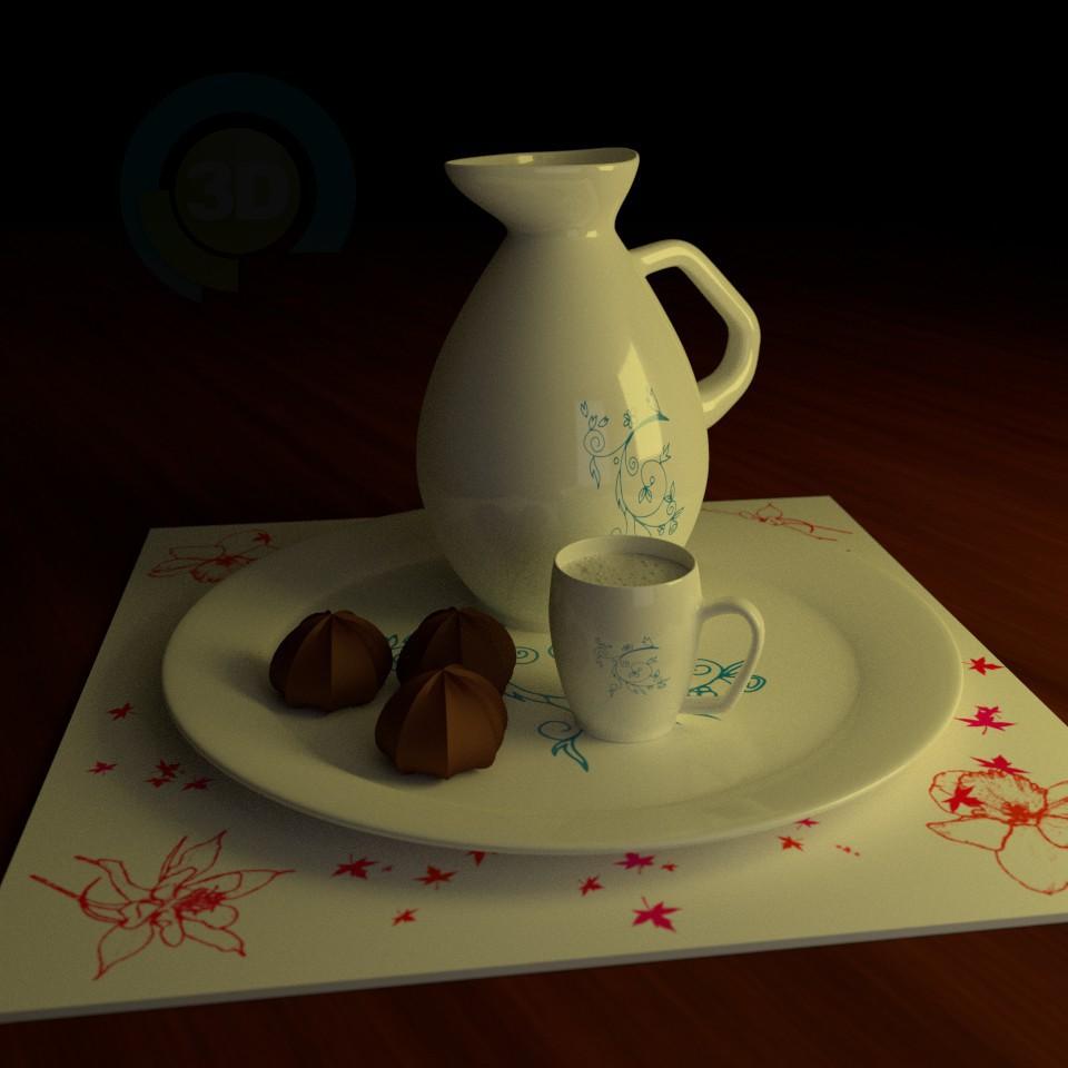 3d модель Кувшин и чашка – превью