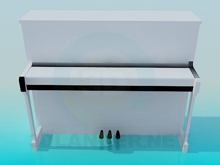3 डी मॉडल सफेद पियानो - पूर्वावलोकन