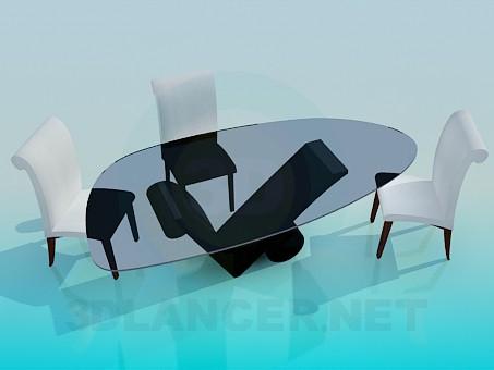 descarga gratuita de 3D modelado modelo Mesa con sillas en la sala de estar