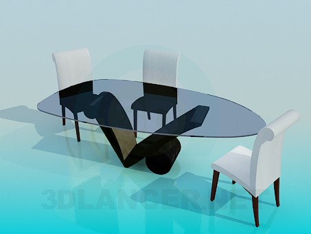 3d model Table with chairs in the living room - preview